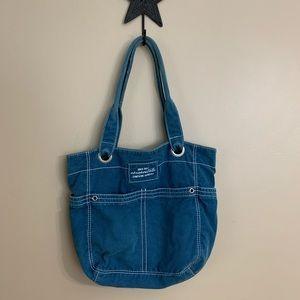Aeropostale Blue Distressed Texture Fabric Handbag